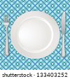 White plate with fork and knife on checkered tablecloth - stock vector