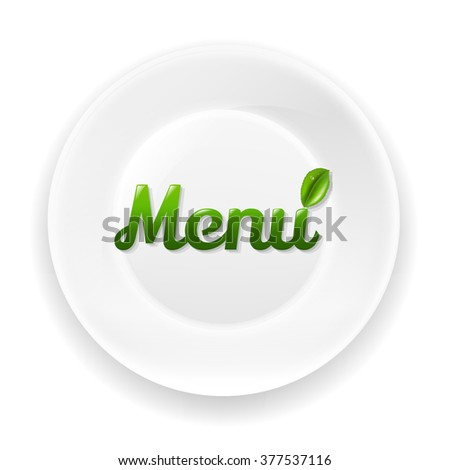 White Plate With Menu Text With Gradient Mesh, Vector Illustration - stock vector
