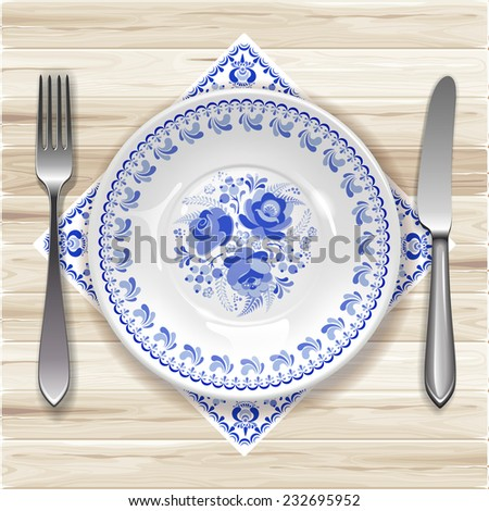 White plate with russian ornament in gzhel style on wooden table. Vector illustration. - stock vector