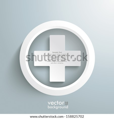White plus symbols on the grey background. Eps 10 vector file. - stock vector