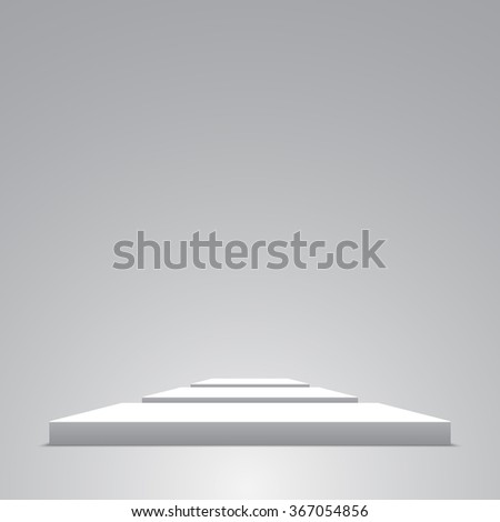 White podium. 3D. Cuboid. Floor. Vector illustration.
