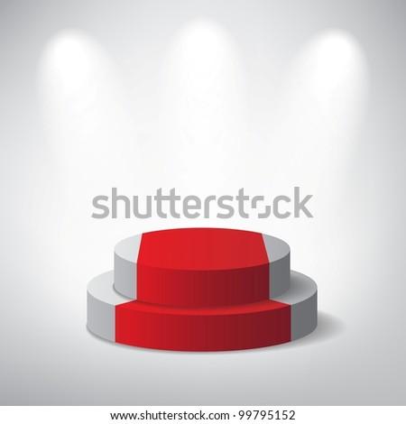White podium on grey background - stock vector