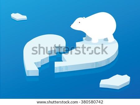 white polar bear on heart broken shape iceberg background conceptual illustration vector - stock vector