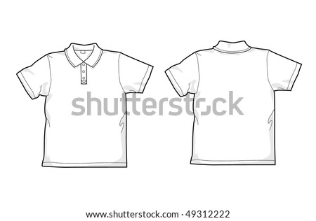 White polo-shirt - back and front - stock vector