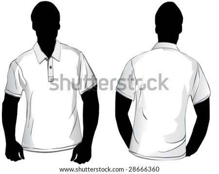 White polo shirt design template with front and back. - stock vector