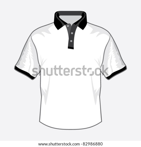 White polo shirt design with black collar - stock vector