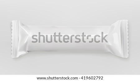 White polyethylene package, chocolate bar, vector mockup - stock vector