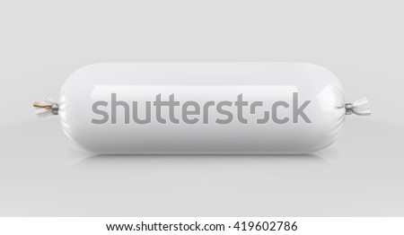 White polyethylene packaging for food, vector mockup - stock vector
