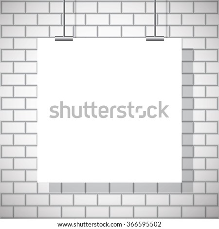 White poster. Blank paper poster on wall. White poster background, texture mock up for your design - stock vector