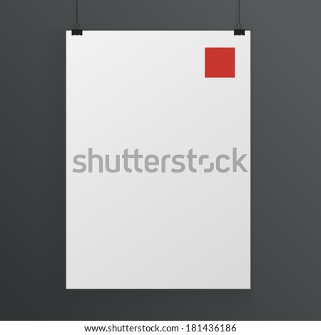 White poster mock up template - stock vector