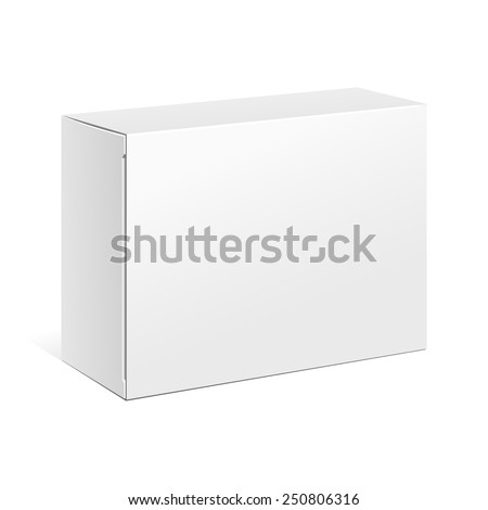 White Product Cardboard Package Box. Illustration Isolated On White Background. Mock Up Template Ready For Your Design. Vector EPS10 - stock vector