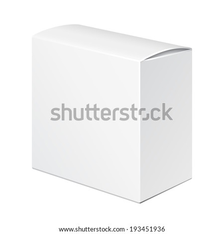 White Product Cardboard Package Box. Illustration Isolated On White Background. Ready For Your Design. Vector EPS10