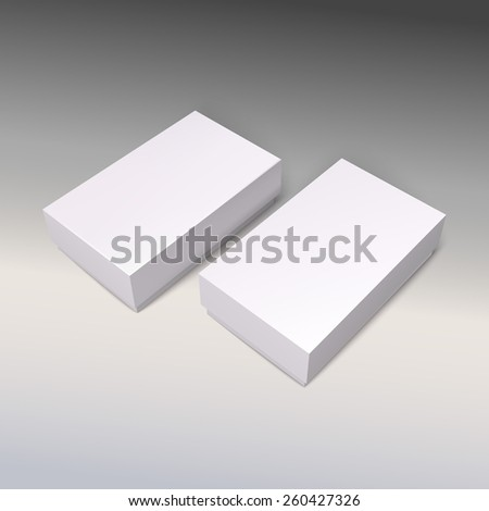 White product cardboards, vector package boxes mockup. Illustration for your design. - stock vector