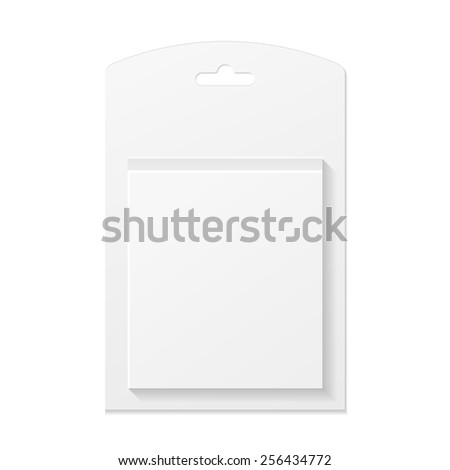 White Product Package Box Front View Illustration Isolated On White Background. Mock Up Template Ready For Your Design. Product Packing Vector EPS10 - stock vector