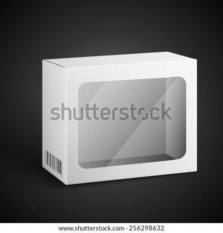 White Product Package Box. Paper Bag . Illustration Isolated On Black Background. Ready For Your Design. Product Packing Vector