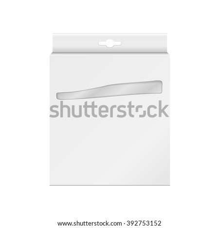 White Product Package Box With Window. For Pencils, Pens, Crayons, Felt-tip Pens Illustration Isolated On White Background. Mock Up Template Ready For Your Design. Product Packing Vector  - stock vector