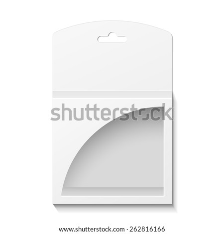 White Product Package Box With Window Illustration Isolated On White Background. Mock Up Template Ready For Your Design. Product Packing Vector EPS10