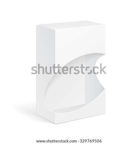 White Product Package Box With Window Illustration Isolated On White Background. Mock Up Template Ready For Your Design. Product Packing Vector EPS10 - stock vector