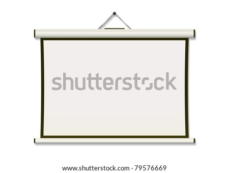 White projection screen hanging from wall with copyspace - stock vector