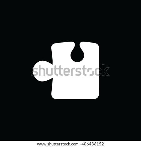 White puzzle icon vector illustration. Black background - stock vector