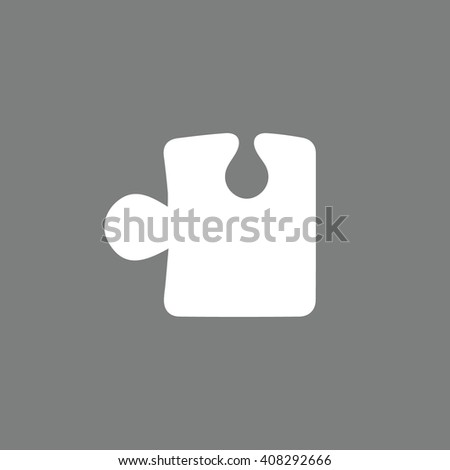 White puzzle icon vector illustration. Gray background - stock vector