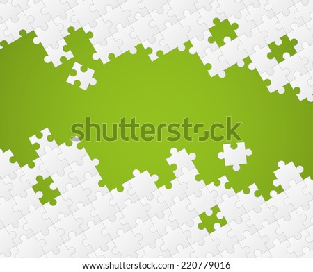 White puzzle pieces on color background - stock vector