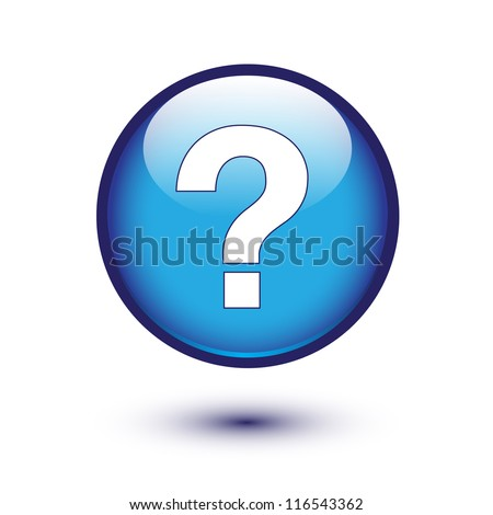 White question mark on blue button - stock vector
