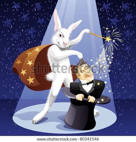 White Rabbit-illusionist pulls out a magician from a hat - stock vector