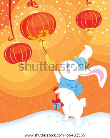 White rabbit - symbol of Chinese horoscope for New Year - stock vector