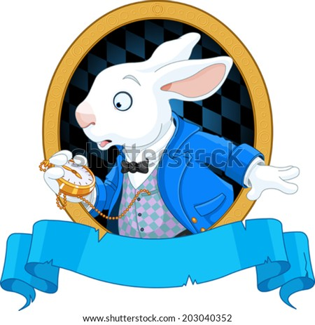 White Rabbit with pocket watch design - stock vector