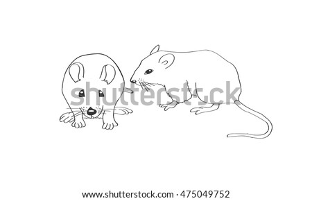 White rat isolated on white background. Icons with laboratory mice. Sketch. Coloring book. Vector.