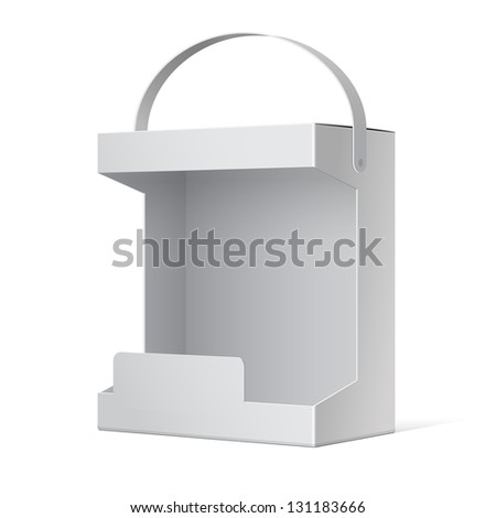 White Realistic Package Cardboard Box with window. Vector illustration
