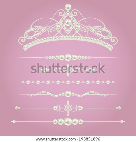 white realistic pearl dividers set collection with diadem  isolated on purple pink background. vector illustration. design elements and page decor  - stock vector