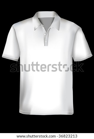 White realistic polo shirt design template with mesh - stock vector