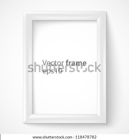 White rectangular 3d photo frame with shadow. Vector illustration - stock vector