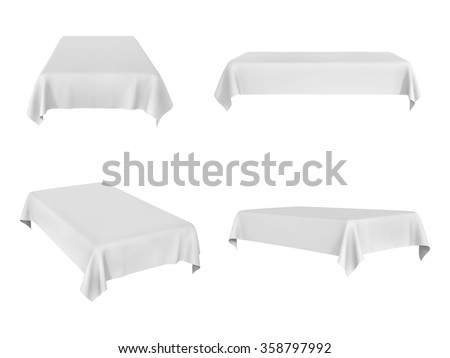White rectangular tablecloth set isolated on white - stock vector
