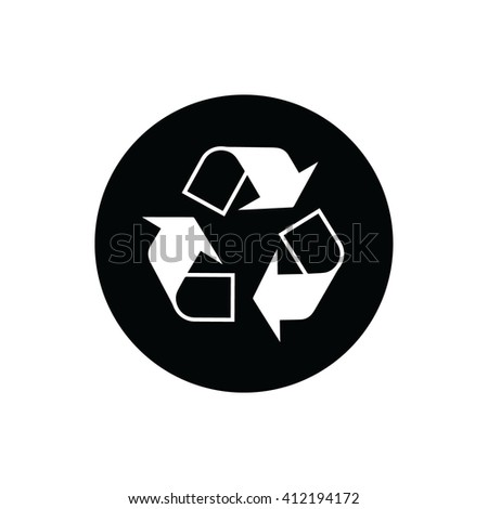 White recycle vector icon.  - stock vector