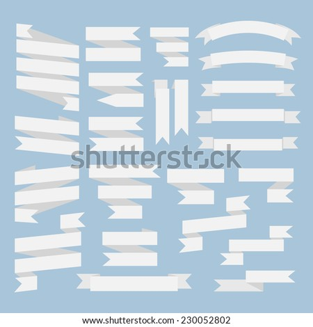 White  ribbons set isolated on a blue background.Vector.Banner web - stock vector