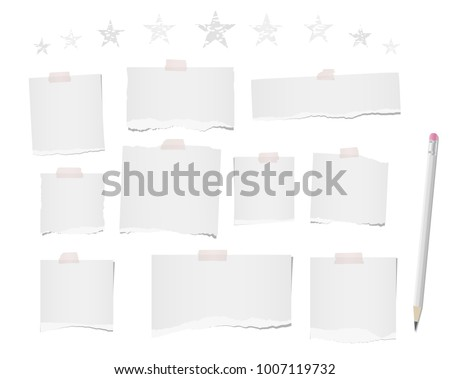 White ripped blank note, notebook paper strips, sheets for text or message stuck with sticky tape on white background with pencil and stars on top