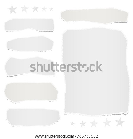White ripped blank note paper strips and sheet for text or message stuck on white background with stars.
