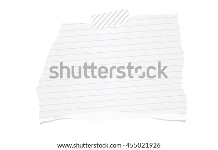 White ripped ruled note paper are stuck with sticky tape on background