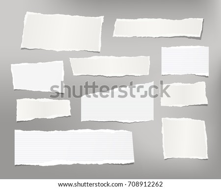 White ripped striped note, copybook, notebook paper stuck on light gray background.