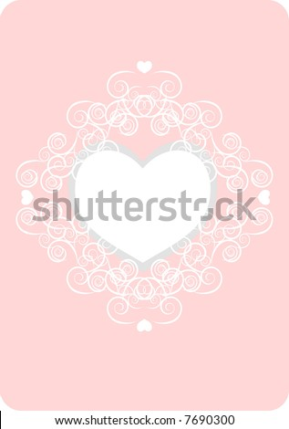 White romantic twirls surrounding a love heart over pink background. Add your own special message. - stock vector