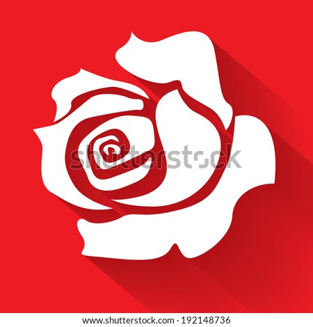 White rose on a red background, illustration - stock vector