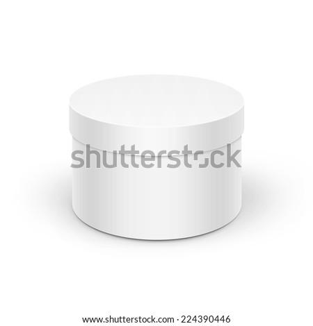 White Round Box - stock vector