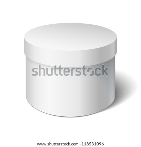 White round box isolated on white. Box with a lid. Gift Box - stock vector