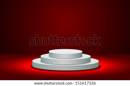 White round podium on the red background  - stock vector