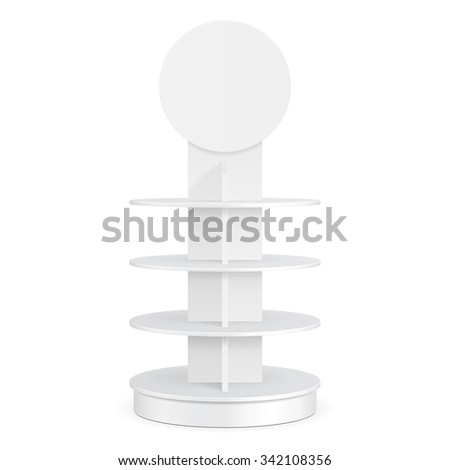 White Round POS POI Cardboard Floor Display Rack For Supermarket Blank Empty Displays With Shelves Products On White Background Isolated. Ready For Your Design. Product Packing. Vector EPS10 - stock vector