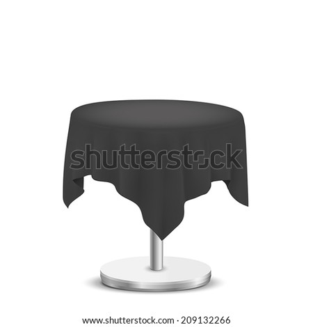 white round table with black cloth isolated on white background - stock vector
