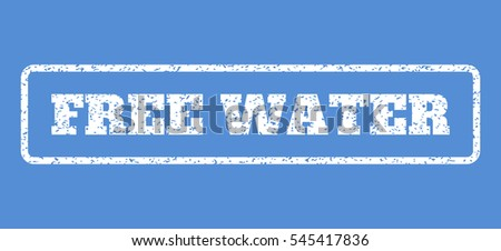 White rubber seal stamp with Free Water text. Vector caption inside rounded rectangular shape. Grunge design and scratched texture for watermark labels. Horisontal emblem on a blue background.
